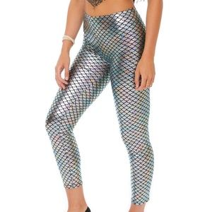 Silver Mermaid scale leggings and Matching Net Top